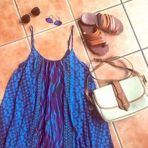 Express Blue Tribal Print Trapeze Resort Dress S